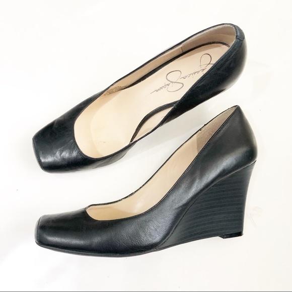 Jessica Simpson black square toe wedge heels